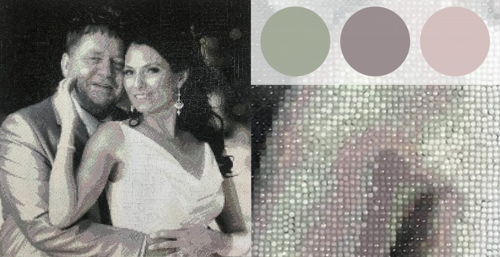 Black and white image converted into a Diamond-dot Painting. But some shading is pink and green.